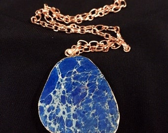 SALE, Resin blue stone necklace with rose gold  chain