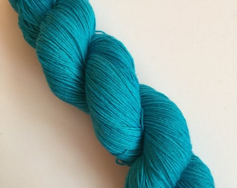 Turquoise Semi-Solid Hand Dyed Sock Yarn 100g DYED TO ORDER