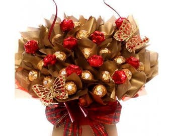 Chocolate Bouquet, Luxury Chocolate Bouquet With Ferrero Rocher Chocolates, Chocolate Truffles Bouquet With Milk Chocolate Stars