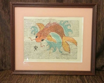 Original watercolor and pen painting on Chinese book page, Koi fish, free shipping