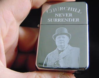 Winston Churchill Engraved Fuel Lighter With Gift Box - FREE ENGRAVING