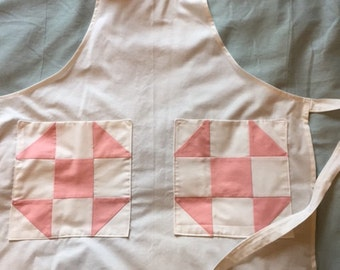 Pink & white all cotton apron