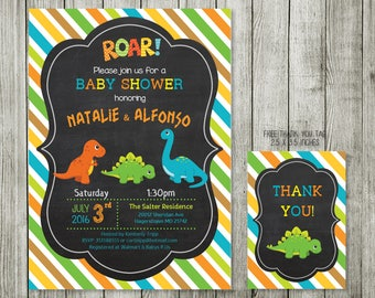 Baby Shower Invitation   Dinosaur Baby Shower Invitation Printable   Dinosaurs  Baby Shower Invites   Gender