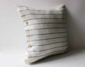 Striped Linen Pillow, White Linen Pillow, White Pillow Cover, Linen Pillow, Linen Pillow with Stripes, White Linen Pillow, Natural Stripes