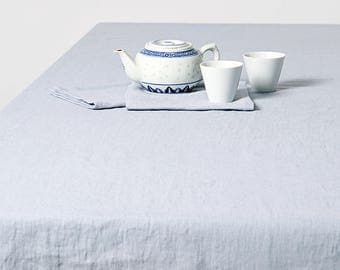 Linen Tablecloth, Softened Linen Tablecloth, Blue Tablecloth, Custom Linen  Tablecloth, Linen Table