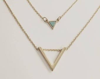 18k Gold Filled V Shaped Pendant And Turquoise Triangle Pendant Necklace