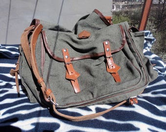 Vintage Military Canvas Bag Messenger Bag Army Purse Army Canvas Handbag Sack Everyday Backpack  Waist Bag Backpack Hip Pouch Everyday Bag