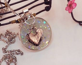 Sparkle Resin Heart Necklace, Heart necklace, Resin necklace, Hand made in USA