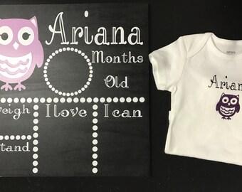 Personalized Bodysuit with Baby Milestone Chalkboard, Personalized baby girl bodysuit, Personalized Baby Milestone Chalkboard