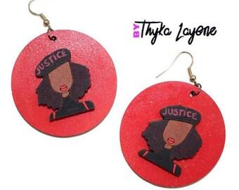 Afro earrings Black Lives Matter earrings - earrings afro 'Justice'