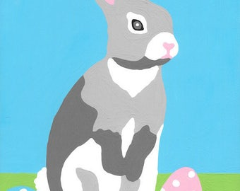 Paint by Number Kit - Easter Bunny Rabbit and Colorful Easter Eggs (perfect for DIY paint parties)