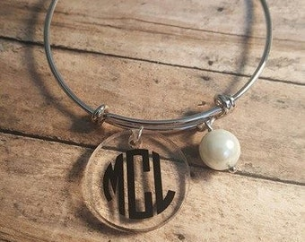 Adjustable Sterling Silver Monogram Bracelet, CIRCLE FONT, Pearl bead