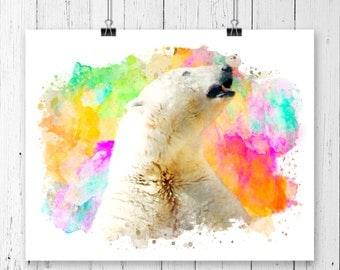 Watercolor Polar Bear Fine  Art Print, Poster, Wall Art, Home Decor, Kids Wall Art, Play Room Wall Art, Nursery Wall Art, Archival print