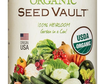 Organic Seed Vault 100% Heirloom Non-GMO Seeds, Sealed for Long-Term Storage – 21 Variety Pack in a Sturdy Can