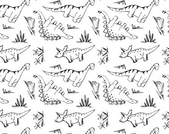 Crib Sheet | Dino, Dinosaur, Dinos, Baby Boy, Black and White, Dinosaur Bedding, Dino Crib Sheet