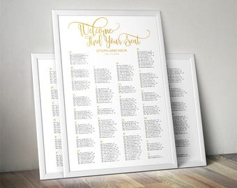 2 styles poster editable printable wedding seating chart template | 24 x 36 inches | instant download | digital file | .pptx file | WSC02