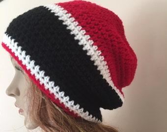 Crochet GA bulldogs team hat, slouchy team hat