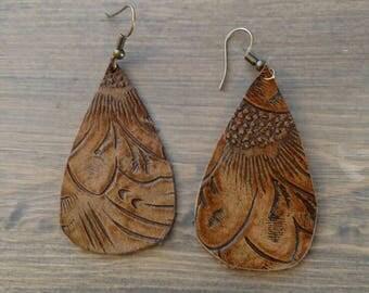 Brown Floral Leather Teardrop Earrings - Brown Embossed Leather Earrings - Lightweight Earrings - Leather Earrings