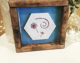 Wooden Shelf Sitter. Marble with Embossed Dandelions and Quote.