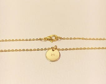 """Circle Charm Necklace """"Lily"""" (Customizable)"""