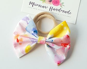 Fabric Bow Headband - hair Clip - Nylon Headband - Lillian bow