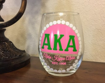 Alpha Kappa Alpha Sorority: Stemless Wine Glass
