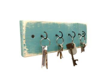 Beach House Key Holder - key hanger key hook rack key rack key hooks wood wall hooks wall decor rustic wall hooks turquoise distressed