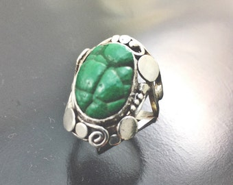 Ring gross Malachite sterling silver Malachite Ring sterling silver 925 thousandth euro 59 size 8.75 us size 19 swiss
