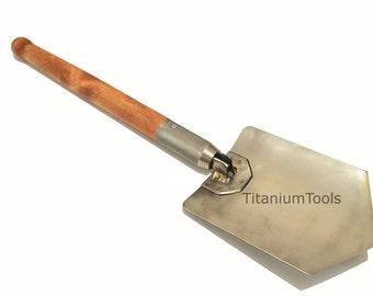 Titanium folding universal shovel. Handmade! Very sharp! Case incl.