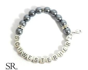 sister gift bracelet pearl sister heart birthday present personalized letter