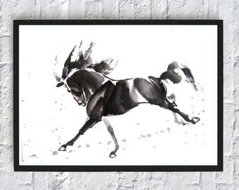 Painting horse print watercolor print decor wall art print room decor black and white poster animals nature illustrations mustang poster