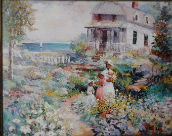 Vintage 1995 Lithograph  African American Girls In Garden In Front Of House SCAFA-Tornabene Art Publishing  number 302-17609     1276