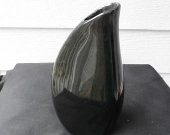 Vintage Figgjo of Norway Mid Century Small Black Vase  2128   1335