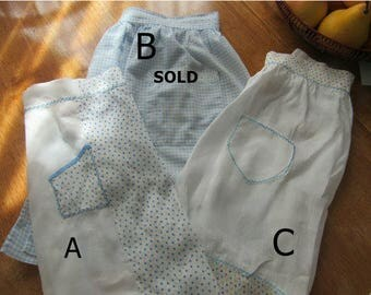 Free Shipping In USA Vintage Half Aprons Cotton, White, Blue, Polka Dots, Gingham, Embroidery, Cross Stitch    264