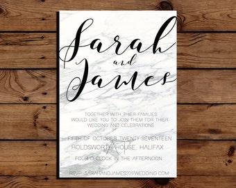 Printable Simple White Grey Marble Wedding Invitation PDF Downloadable Digital File