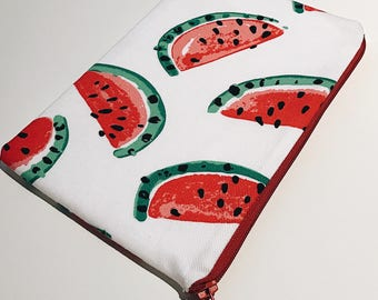 Watermelon Make Up Case, Zipper Pouch, Coin Purse, Pencil Case, Fabric Purse