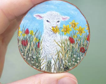Special offer, miniature painting - lamb - sheep - Easter