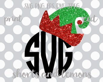Elf svg, elf hat svg, Christmas monogram svg, Elf clip art, SVG, DXF, EPS, Christmas svg, Christmas dxf, elf dxf, iron on transfer, png