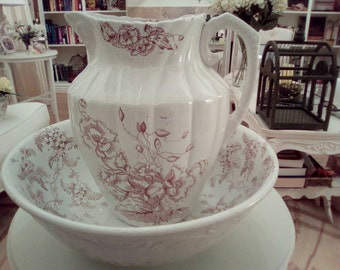 Brown and White Transferware Pitcher and Bowl