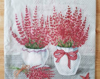 Set Of 4 Square Paper Lunch Napkins Small Floral Red Plants Decoupage Crafts Collage #079