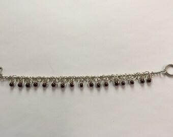 Burgundy Faux Pearl Bracelet.