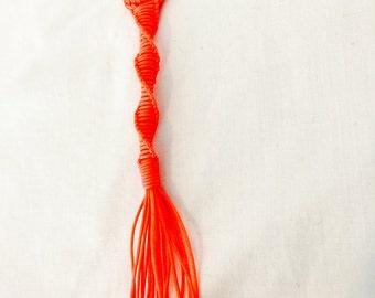 DNA helix keychain, orange nylon cord keychain
