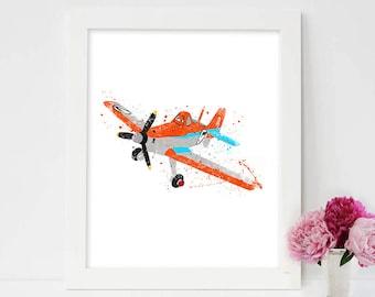 Dusty, Disney Planes Art, Disney Planes Print, Dusty Crophopper, Blade Ranger, Watercolor Print, Disney Poster, Disney Planes Poster, Disney