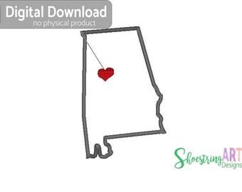 Alabama applique - Tuscaloosa - Alabama embroidery design -  Alabama machine embroidery - alabama heart - digital download -  5x7 - pes