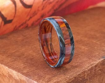 Cocobolo Wood Ring - Mens Wooden Ring Bentwood Wooden Wedding Band  Engagement Ring  Anniversary Gifts for Men  Wood Jewelry