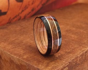 Jack Daniels Reclaimed Whiskey Barrel Ring with Ebony & Copper