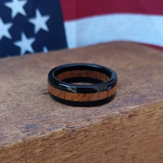 Ebony Wood Ring - Hawaiian Koa wood ring - Wooden Ring - Wedding Band - Wood Anniversary - Gift- Men's ring - Woman's ring