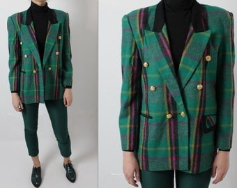 Green Plaid Blazer Womens Checkered Jacket Vintage Women's Blazer Double Breasted Jacket Padded Shoulders Large Size