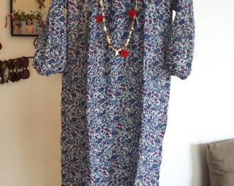 Vintage 70s dress all Indian cotton voile