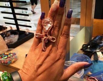 Herkimer Diamond Ankh Ring